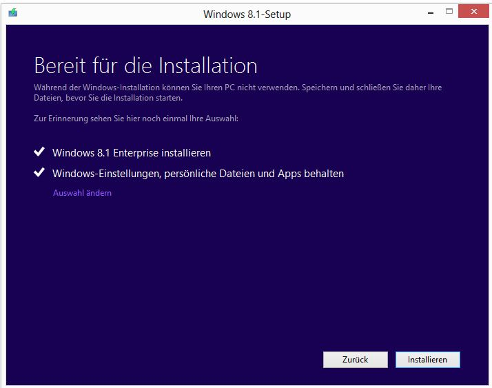 In Place Upgrade Auf Windows 81