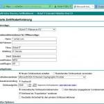 Anforderung des Zertifikats auf der Website der Internen CA
