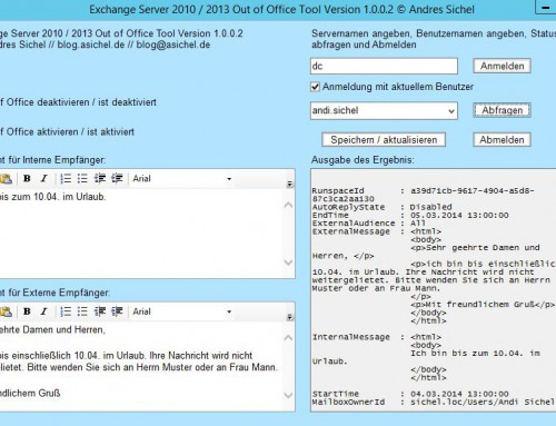Out of Office Tool: Update zu Version 1.0.0.2