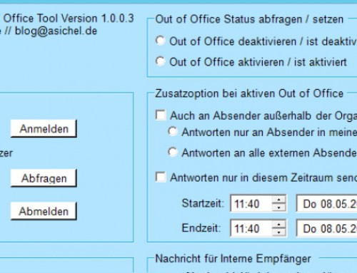 Update: Out of Office Tool Version 1.0.0.3