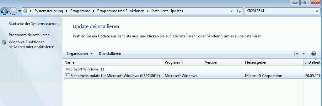 Fehlerhaftes Update KB2918614
