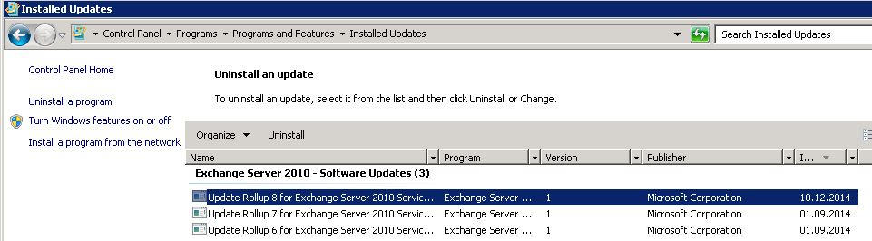 Exchange 2010 SP 3 CU 8 uninstall