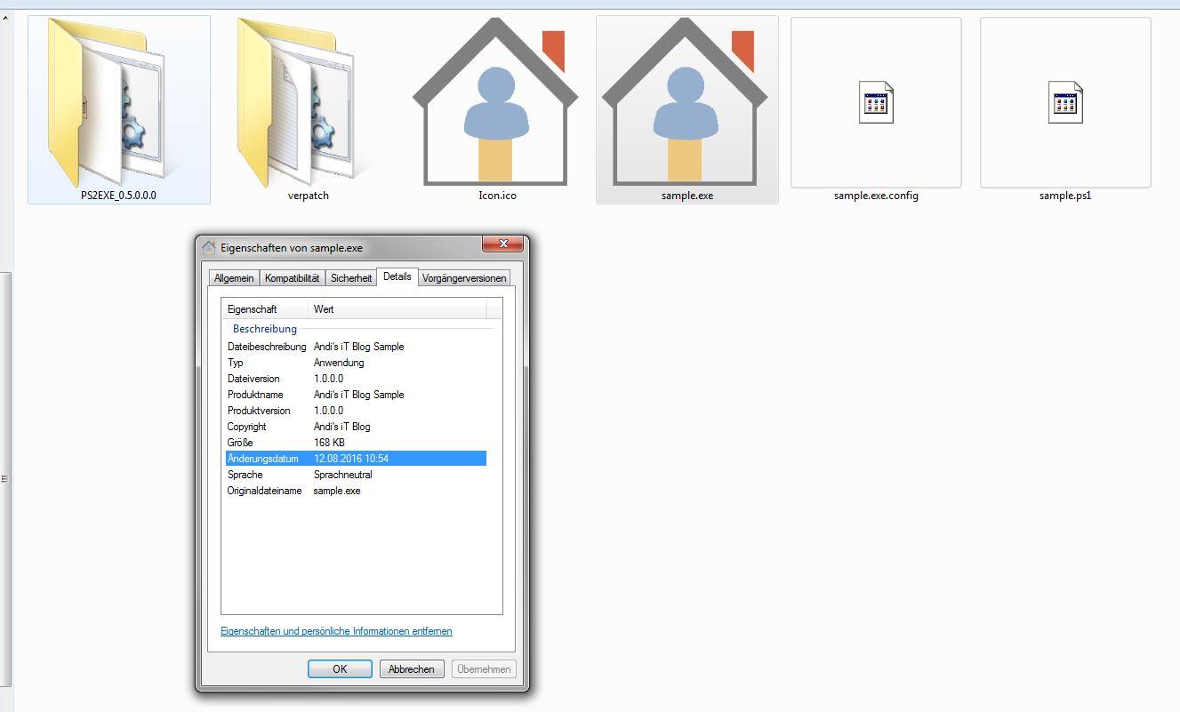 PowerShell to EXE- Fertige EXE mit ICO und Details
