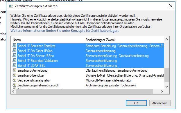 certificate authority enrollment certsrv nicht verfugbar