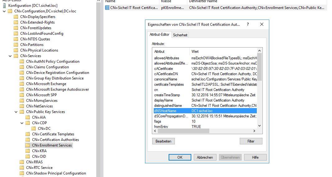 Zertifizierungsstelle (CA) auf Server 2016 umziehen (PKI
