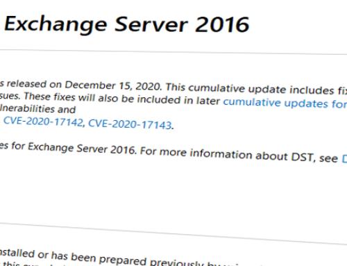 Updates für Exchange 2016 & 2019 / Dezember 2020