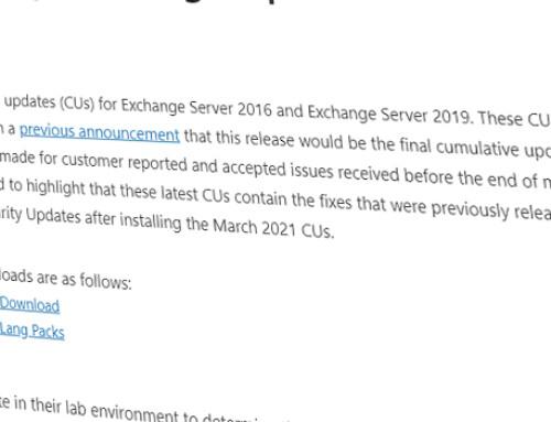 Updates für Exchange 2016 & 2019 / März 2021