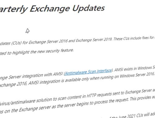 Updates für Exchange Server 2016 & 2019 / Juni 2021